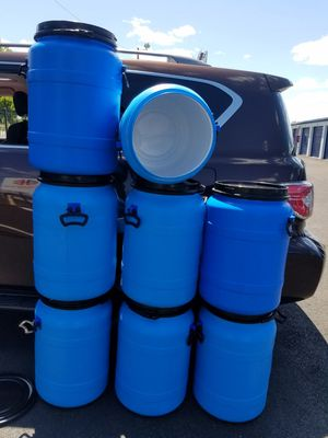 20 gallon food graded barrel with black clamps with handles. for Sale in Fairless Hills, PA