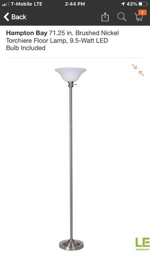 Hampton Bay 71.25 in. Brushed Nickel Torchiere Floor Lamp, 9.5-Watt LED Bulb Included beautiful lamps LED for Sale in Hesperia, CA