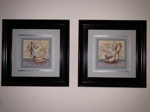 Set of Two Fashion Shoe Art Prints With Dark Espresso Black/Brown Frames 20 x 20 inches for Sale in Arlington, VA