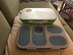 Blue portion perfect & green eco meal kit Collapsible silicone meal kit lunch box compartments for Sale in Portland, OR