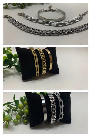 Punk Style 3pcs/Set Curb Cuban Multilayer Link chain bracelet, Gold and Silver Color (2 Sets) for Sale in Tustin, CA
