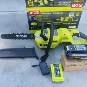 "Ryobi 40v 14"" Chainsaw With Battery And Charger for Sale in Riverside, CA"