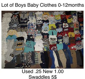 Baby clothes .25 used 1.00 new to 5$ swaddles for Sale in Fort Washington, MD