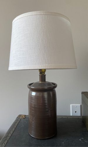 Hand thrown clay lamp with shade for Sale in Washington, DC