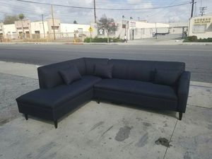 NEW 7X9FT DOMINO BLACK FABRIC SECTIONAL CHAISE for Sale in La Mesa, CA
