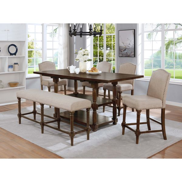 6PC Counter Height Dining Set With Extension Leaf Table