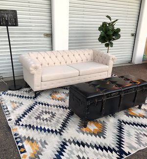 New Beige Chesterfield tufted sofa with leather storage coffee table for Sale in San Diego, CA