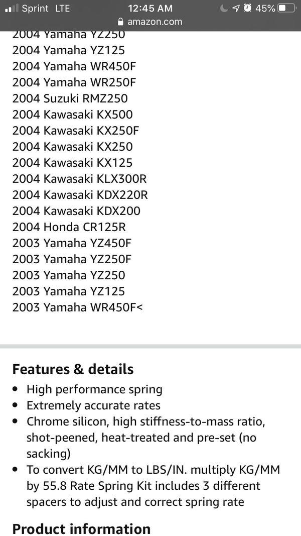 2007 Yamaha yz250f rear spring