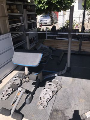 Olympic adjustable bench press squat rack combo weight set for Sale in Monterey Park, CA