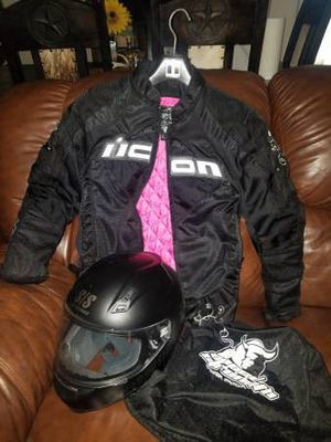 Womens Icon motorcycle Jacket/Helmet for Sale in Mesquite, TX