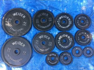 "$120 236.50 lbs! Weider - Olympic weights / 2"" hole plates!! for Sale in Phoenix, AZ"
