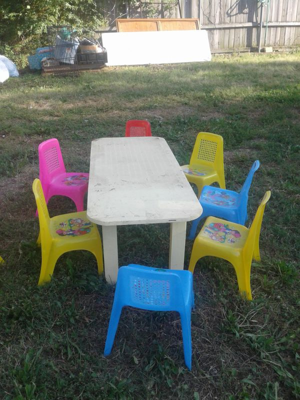 1 , sets ... kids table and. Chairs $15 each the white one
