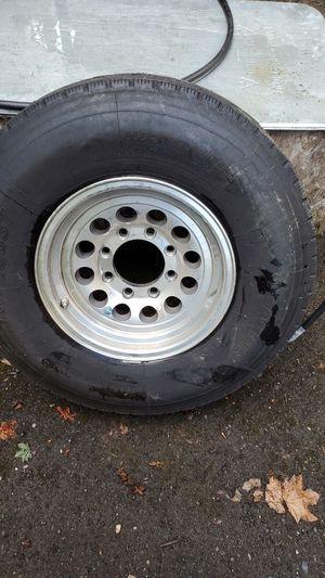 8 lug 235/85R16 trailer tire. Aluminum rim. 80 to 90 % tread for Sale in Vancouver, WA