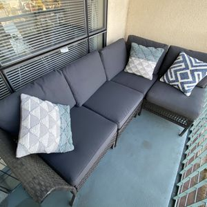 Outdoor Wicker Patio Couch furniture with cusions and pillows for Sale in Oakland, CA