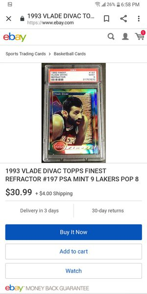 93 Topps Finest Blade Divac Refractor for Sale in Farmington, IL
