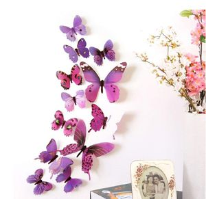 12pcs PURPLE 3D Bright Color Butterflies Home Office Wall Decor DIY 3D Stickers for Sale in Upland, CA