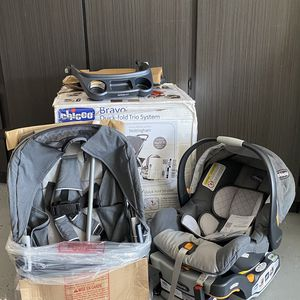 Chicco Bravo Trio Travel System with Full Size Stroller, Convertible Frame Stroller, and KeyFit 30 Infant Car Seat —Nottingham—-BRAND NEW In BOX for Sale in Peoria, AZ