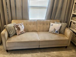 Tan Microfiber Futon for Sale in St. Petersburg, FL
