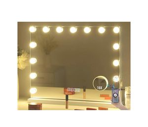 Large Vanity Makeup Mirror with Lights,Bluetooth Hollywood Lighted Dressing Tabletop Mirror&Wall Mounted Beauty Mirrors with 15 pcs Led for Sale in Chino Hills, CA