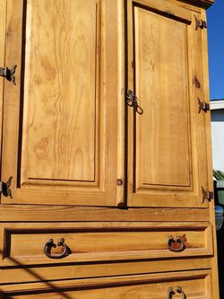 Rustic country style real wood wardrobe armoire dresser hutch for Sale in Carson,  CA