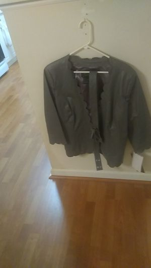 Terry lewis leather jacket with self belt with bow. Never worn tickets attached and tags attached for Sale in Greenville, SC