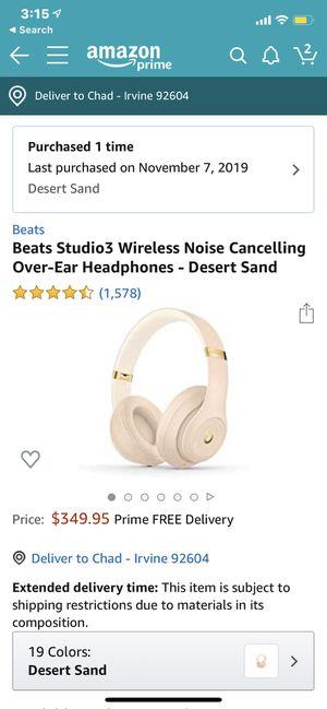 Beats Studio3 Wireless Noise Cancelling Over-Ear Headphones - Desert Sand for Sale in Irvine, CA