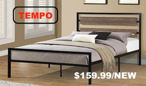 Metal Bed Frame with Wooden Headboard, Queen for Sale in Santa Fe Springs, CA