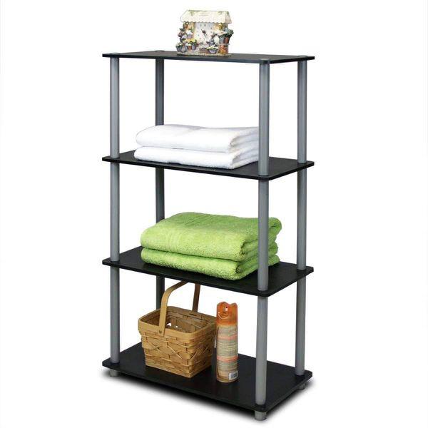 Turn-N-Tube 4-Tier Multipurpose Shelf Display Rack - Black/Grey Perfect Storage and Organizer atHome