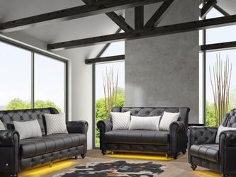 Black Leather Sofa Set 3pc - Delivery Available ($39 Down Payment) 🚚 for Sale in Dallas,  TX