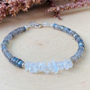 Moonstone & Labradorite Gemstone Sterling Silver Bracelet for Sale in Wayne, PA