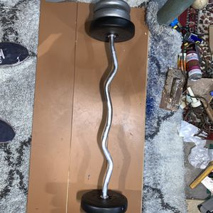 Standard Curl Bar with 55 lbs of Total Weight for Sale in Queens, NY