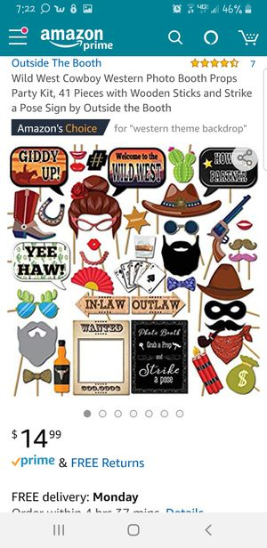 Photo booth props with backdrop and cowboy/ girl party hats for Sale in San Bernardino, CA