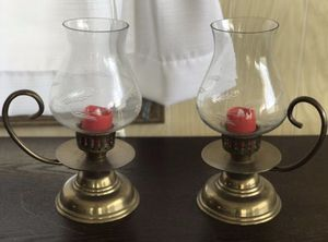"""2/ Hurricane Lantern""""STYLE"""" Candle Holders, Etched Glass Globes. $20.00 Firm for Sale in Bradenton, FL"""