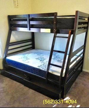 Brand New Espresso Bunkbed with Drawers, Full _Twin Mattresses included for Sale in Stockton, CA