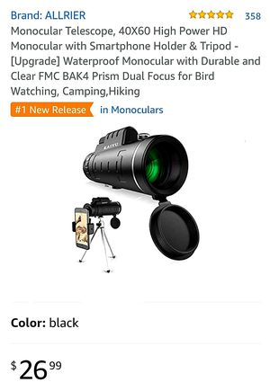 Monocular Telescope, 40X60 High Power HD Monocular with Smartphone Holder & Tripod - [Upgrade] Waterproof Monocular with Durable and Clear FMC BAK for Sale in La Habra Heights, CA