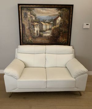 American Eagle Furniture modern white white faux leather loveseat couch sofa that sells for over $800 for Sale in Peoria, AZ