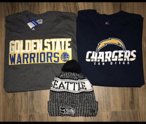 NEW MENS XL WARRIORS STEPH CURRY CHARGERS T SHIRTS AND SEATTLE SEAHAWKS BEANIE for Sale in Huntington Beach, CA