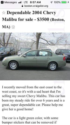 2004 Chevy Malibu 93K outside of Boston for Sale in Weston, MA
