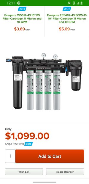 Everpure EV9437-11 High Flow CSR Quad-MC2 Water Filtration System with Pre-Filter and Low Pressure Alarm - .5 Micron and 6.7 GPM for Sale in Clearwater, FL