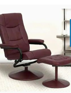 Flash Furniture Contemporary Leather Recliner and Ottoman With Leather Wrapped Base, Burgundy for Sale in Loganville,  GA