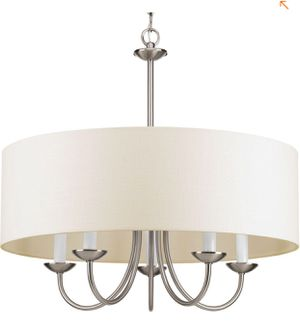 5-Light Brushed Nickel Chandelier with Beige Linen Shade for Sale in St. Louis, MO