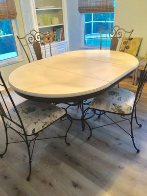 Oak and Wrought Iron Dining Table 6 chairs for Sale in Palm Harbor, FL