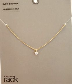 Minimalist CZ Solitaire necklace- gold box Chain for Sale in Rockville,  MD