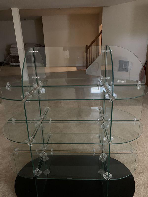 Glass Showcase Shelf Black Glass