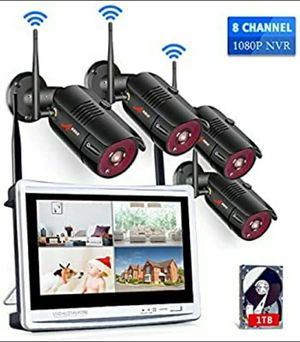 "Home Security Camera System Wireless Jennov 1080P 4pcs WiFi Video Surveillance Camera System Outdoor w/ White 12"" Monitor for Sale in San Diego, CA"