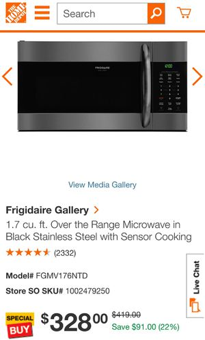 Frigidaire Gallery 1.7 cu. ft. Over the Range Microwave in Black Stainless Steel with Sensor Cooking BRAND NEW for Sale in Barrington, IL