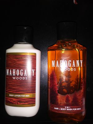 Bath & Bodyworks Mahogany Woods lotion and 2 in 1 hair and bodywash for men full size for Sale in Hemet, CA