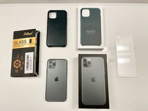 iPhone 11 Pro Midnight Green 64GB Unlocked + Apple Leather Case + Screen Protector for Sale in Torrance, CA