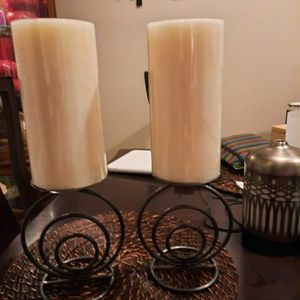 Two Metal Candle Holders with a Swirl Design And Candles for Sale in Centreville, VA