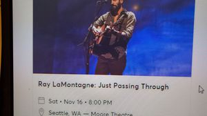 2 tickets Ray LaMontagne Sold Out Show tonight 11/16 for Sale in Kent, WA